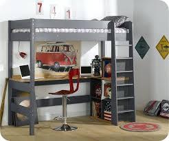 lit superposé avec bureau pas cher mezzanine clay gris anthracite avec bureau lit mezzanine clay gris