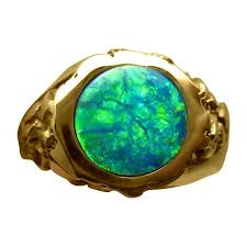 green rings images Mens green opal ring textured heavy 14k gold flashopal jpg