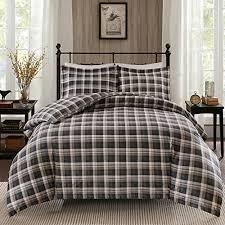 3 brown black grey madras plaid comforter set all