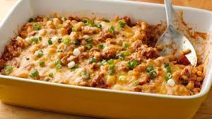 make ahead cheesy turkey chili bake recipe pillsbury