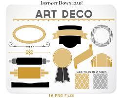 art deco clipart design elements web tiles blog graphics