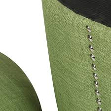 homebeez modern nailhead trim wood legs fabric storage ottoman green