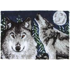 Wolf Area Rugs by Amazon Com Wonderart Midnight Wolves Latch Hook Kit 27