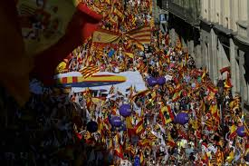 protesters rally against catalan independence in barcelona the local