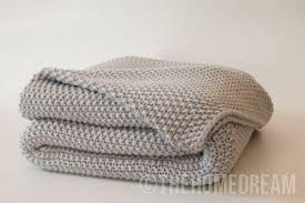 luxurious cotton chunky seed stitch knitted throw blanket