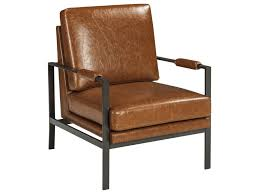 Brown Leather Accent Chair Signature Design By Peacemaker Bronze Finish Metal Arm