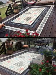 Painted Rug Stencils Painted Deck Rug I Have Done This Before I Put Marine Varnish