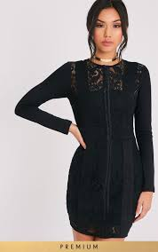 prettylittlething womens ladies issie black long sleeve lace panel