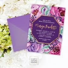 Burgundy Flowers Purple Floral Bridal Shower Invitation Faux Gold Foil Classy