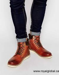 quality men asos lace up boots in brown leather brown size 5 5
