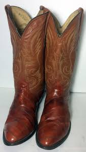 womens boots size 11 canada boots on sales vintage brown eel skin leather cowboy