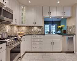 decor two tone kitchen cabinets and tile backsplash with white