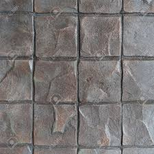 Wood Grain Stamped Concrete by Concrete Stamp Pattern For Outdoor Floor Finishing Stock Photo