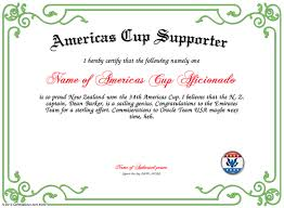 americas cup supporter certificate template gif