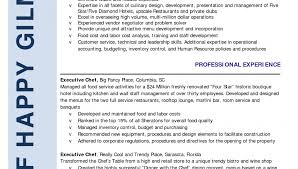 successful resume exles resume template excellent sle chef uncategorized impressive entry