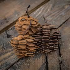 pine cone ornaments in grain leather