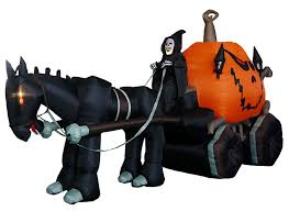 amazon com 11 5 foot long inflatable grim reaper driving pumpkin