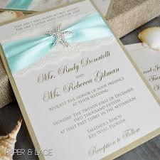starfish wedding invitation ivory or white lace