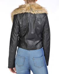 biker jacket women ladies women faux fur collar pu leather oversize biker jacket coat