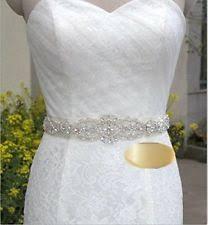 thin rhinestone bridal sash pearl crystal wedding dress belt ivory