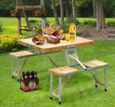 Camping Picnic Table Wooden Folding Picnic Table Ebay