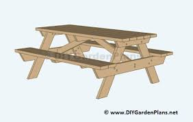 Plans For Picnic Table With Attached Benches by Diy Building Plans For A Picnic Table