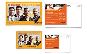 staffing u0026 recruitment agency postcard template design