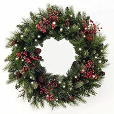 cordless led pre lit cone berry wreath