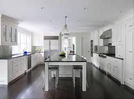 Dark Wood Floor Kitchen by White Kitchen Cabinets Dark Wood Floors Transitional Kitchen