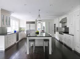Hardwood Floors With White Cabinets White Kitchen Cabinets Dark Wood Floors Transitional Kitchen