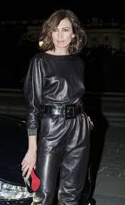 leather jumpsuit nieves álvarez in an sporty leather jumpsuit in leather