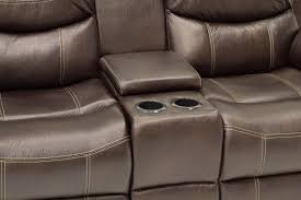 chestnut dual reclining loveseat with console