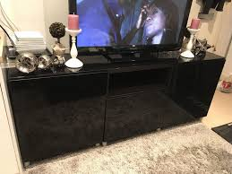 ikea tv bench besta black brown with high gloss black doors and