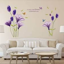 purple lily flower wall decals stickers bedroom lounge wall stickers