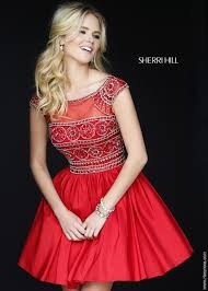 sherri hill 32267 red trendy cap sleeve party dress