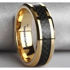 tungsten rings gold images Black carbon fiber inlay gold tone tungsten wedding ring 8mm jpg