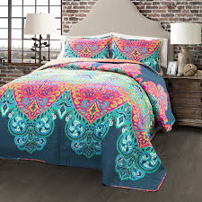 turquoise quilted coverlet com lush decor 3 piece boho chic quilt set full queen