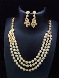 zircon necklace set images Cz necklace artificial american diamond jewellery zircon jewellery jpg