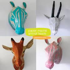 papier mache animal head wall art craft projects pinterest