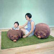 sleeping grizzly bear and cub bean bag chairs the green head