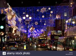 christmas decorations and traffic in regent street london united
