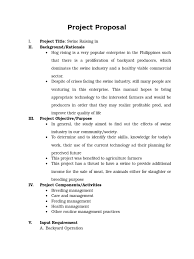 project proposal swine raising pig animals and humans