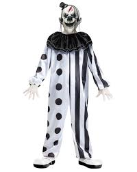 black and white killer clown child costume creepy carnival