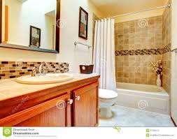 bathroom interior with beige tile wall trim stock photo image