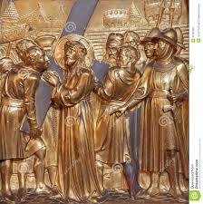 antwerp simon of cyrene helps jesus to carry his cross metal