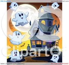 clipart of halloween ghosts bats and a full moon around a haunted