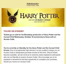 ticketmaster verified fan harry potter nivedita rangarajan on twitter ugh i m on standby feels like not