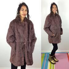 amazing vintage medium length coney fur coat purp retruly