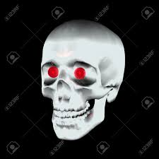 a scary halloween skull with red glowing eyes stock photo picture