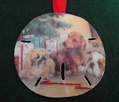 vintage christmas ornament dogs sand dollar transfer by nonnie60